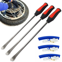 3pcs Tire Lever Spoons&TPE Professional Motorcycle Tire Repair Tool Rim Protectors Tire Iron Changing Wheel Kit Mayitr