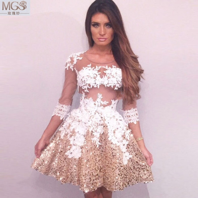 be97cbd4dc Charming 2016 MGS Sexy Short Mini Cocktail Dresses Scoop See-Through Sheer  Appliqued White Lace Beaded Gold Sequined Party Gown