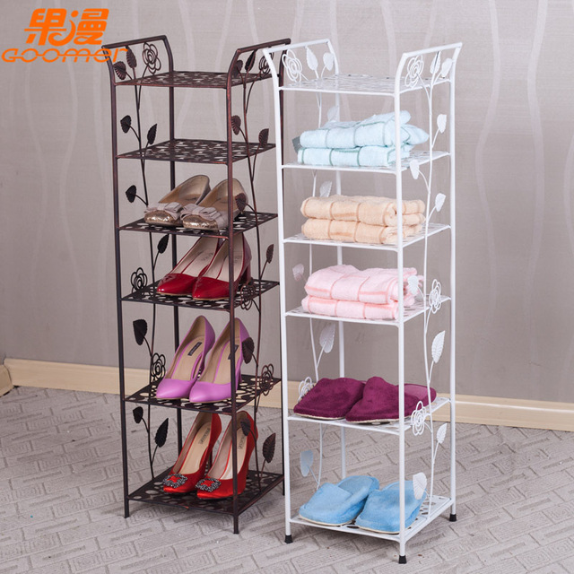 European Style Wrought Iron Shoe Rack Floor Type Simple Vertical Shoes Shelf