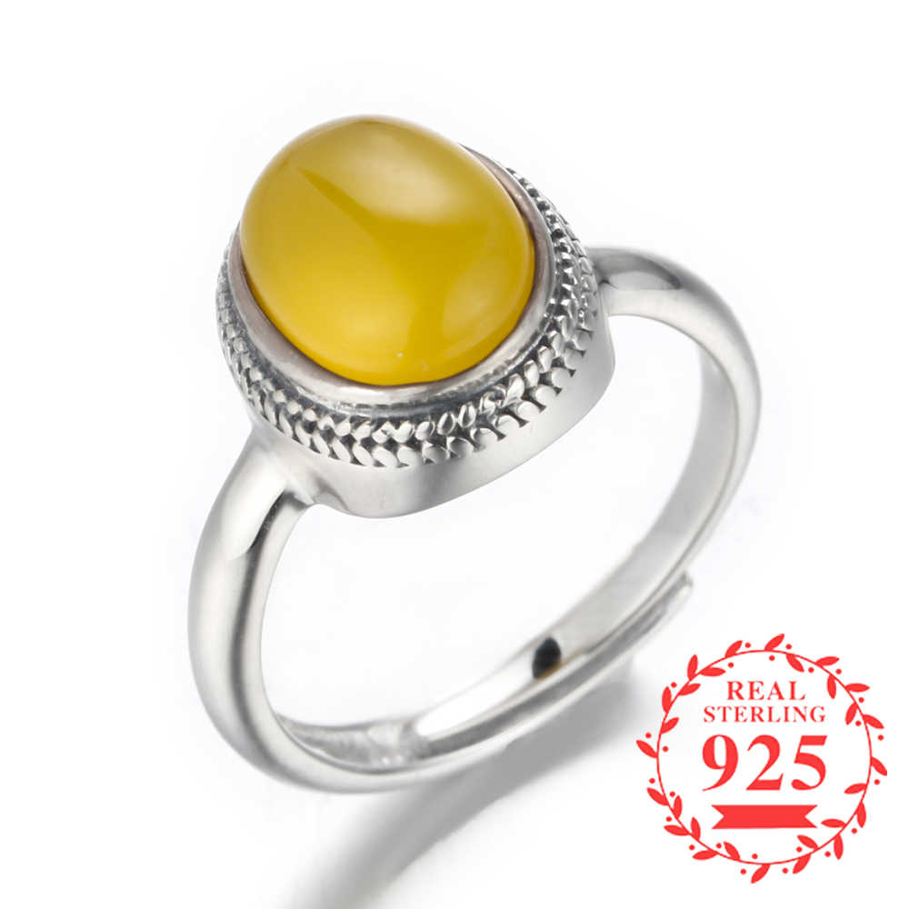 5a26493bdc04c Gemstone NOT FAKE Israel S925 Fine Jewelry Ring Sterling Silver Women lord  noble rich Natural Artisan Baltic Semi amber opal