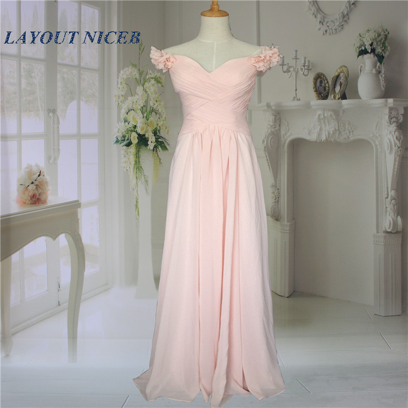 2015 Flower Long Fashion Baby Pink Bridesmaid Dresses for Wedding ...
