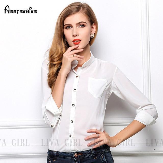 d01ecff0182c € 14.23 |2018 nuevo primavera estilo europeo de moda elegante de Color  blanco de moda blusa de mujer Camisa de gasa 25 en Blusas y camisas de La  ropa ...