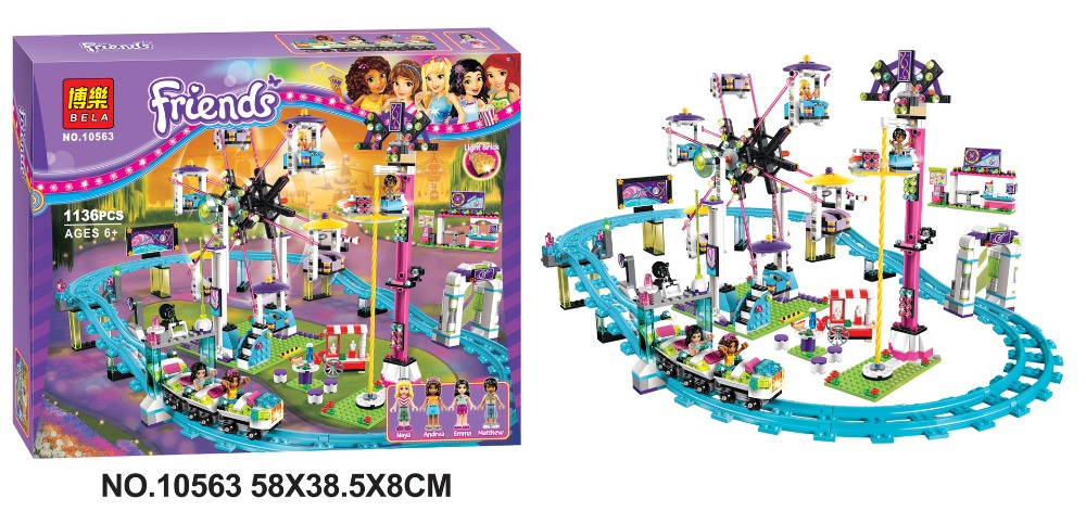 BELA10563 Friends series the Amusement Park Roller Coaster Model Building Block set Compatible with lepin toys for children new 7033 friends series the city park cafe pirate ship model building block classic girl toys compatible with lepin