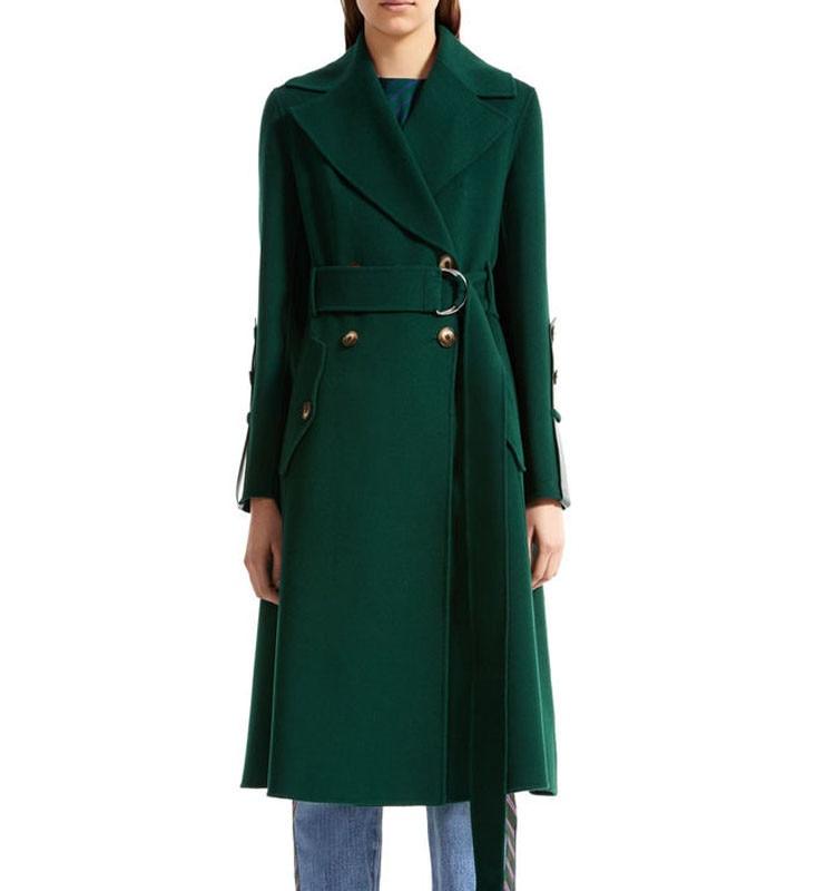 100% шерстяное пальто женское длинное пальто зимнее теплое шерстяное пальто 2018 Роскошная Брендовая верхняя одежда темно зеленый верблюжий ц