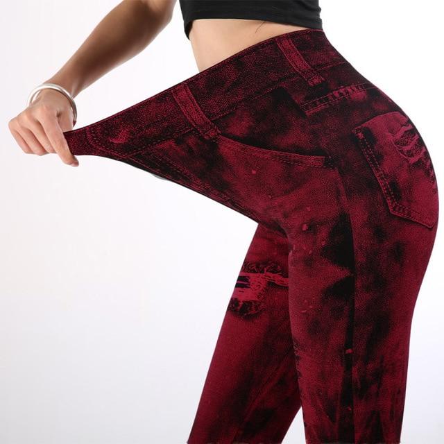女性ハイウエストレギンスファッションプッシュアップジーンズ鉛筆パンツ薄型セクシーな偽デニムデニムファム服ドロップシップ