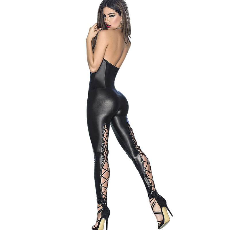 NORMOV Female Jumpsuit Body Mujer Sexy And Club Soild Leather Bodysuit Skinny Elasticity Lace Backless Rompers Womens Jumpsuit