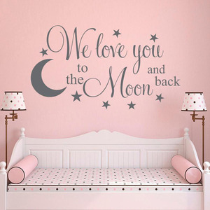 Kids Room Wall Decals Quote We Love you to the Moon and Back Vinyl Lettering Wall Stickers Idea Home Decoration G625(China)