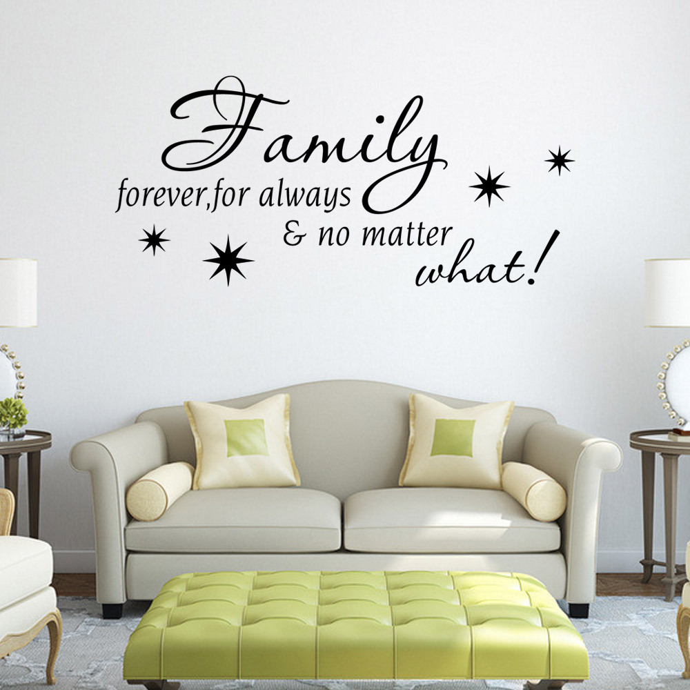 Incroyable Waterproof Removable Decor Stickers Wall Stickers Family Forever English  Quote For Living Room Muurstickers Home Decor Bloemen In Wall Stickers From  Home ...