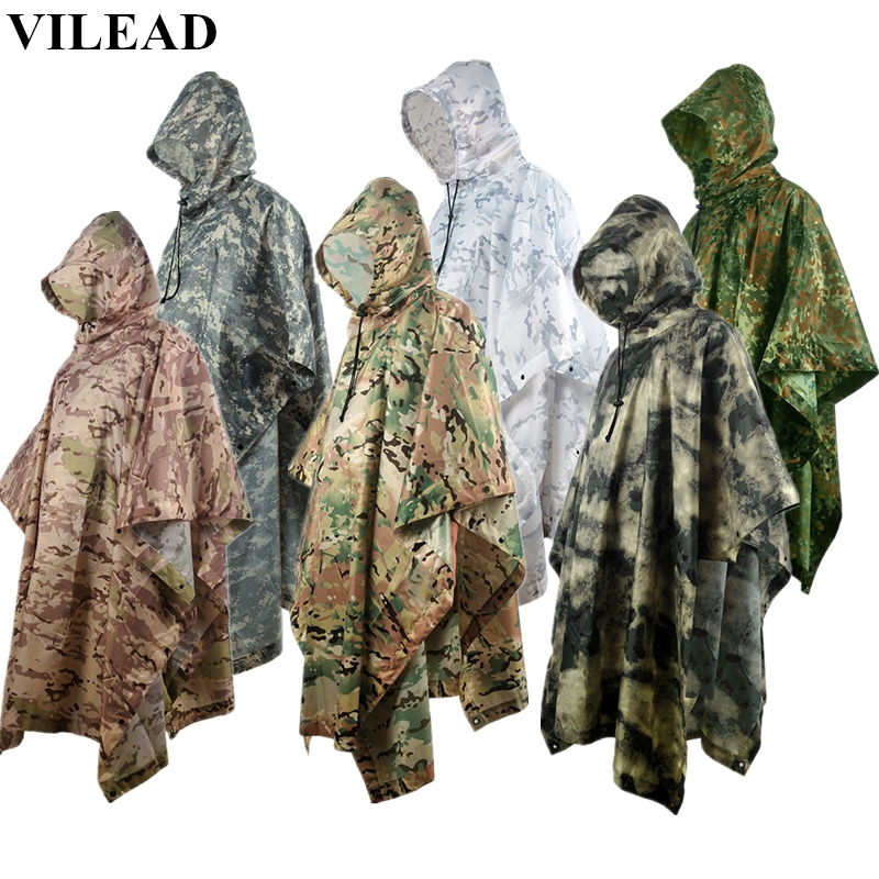 VILEAD Outdoor Waterproof Raincoat Impermeable Multi-functional Rain Poncho Men Women Durable Motorcycle Rain Coat Rain Gear