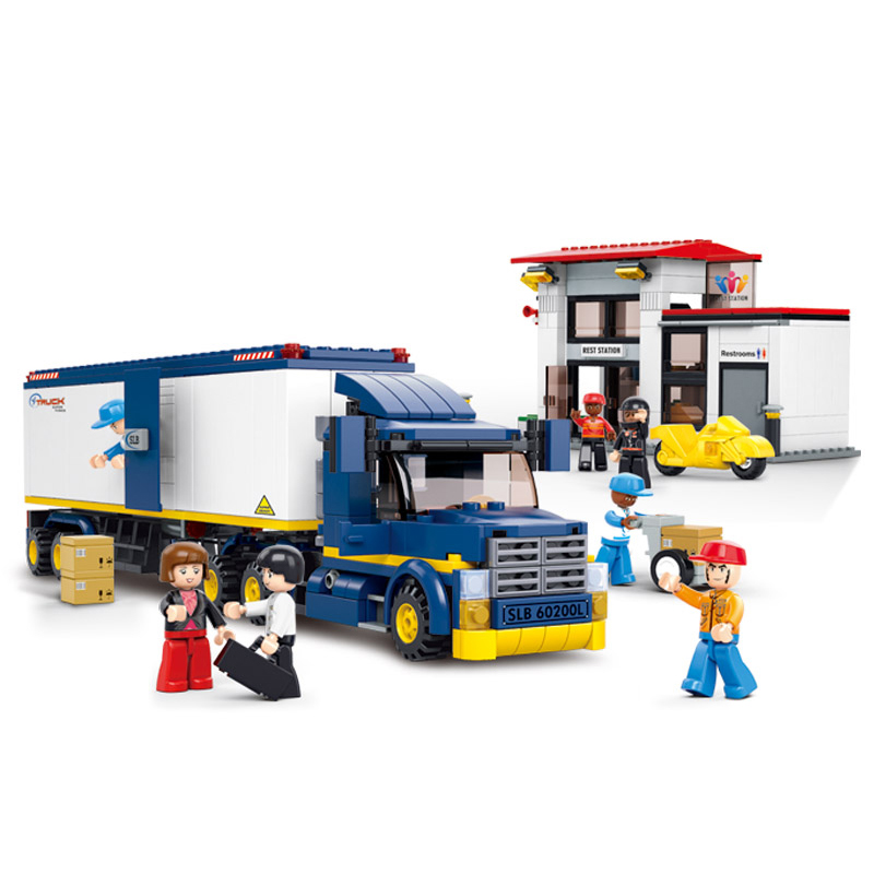 0318 SLUBAN City Container Cargo Team Truck Gas Station Model Building Blocks Classic Figure Toys For Children Compatible Legoe b1600 sluban city police swat patrol car model building blocks classic enlighten diy figure toys for children compatible legoe