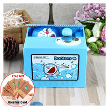 New Doraemon Piggy Bank Electric Money Box Steal Coin Automatically For Kids Birthday Christmas Gift Desk Decoration(China)