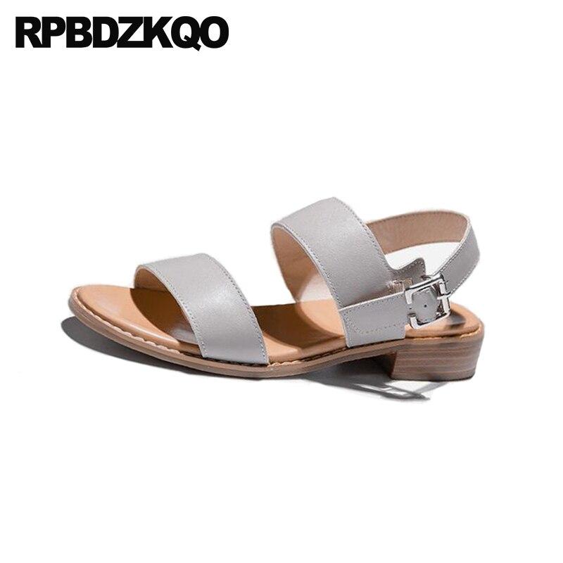 Casual Zapatillas Fornido 2018 Verano Tacón Cómodo De gris Sandalias Correa Fiesta Playa Tiras Grueso Cuadrado Beige Mujer Zapatos Slingback Bajo vwqfxFgvp
