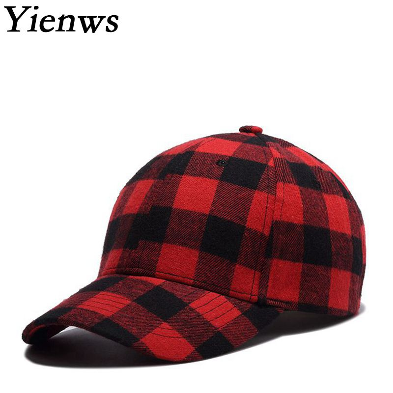 Yienws New Fashion Red Black Plaid Baseball Cap for Women Hip Hop Cap Summer Sun Hat Casual Cotton Bone Gorras Mujer YIC519 new 2017 hats for women mix color cotton unisex men winter women fashion hip hop knitted warm hat female beanies cap6a03