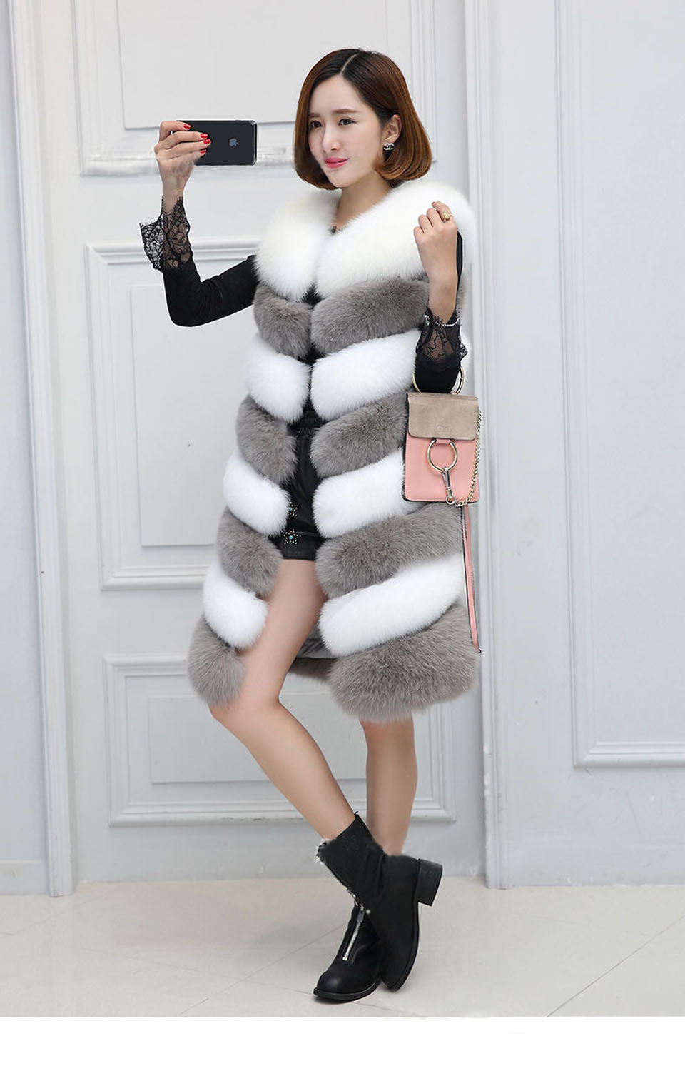 2017 winter long coats female imitation fur vest women stitching color fox fur vest fashion jacket faux fur vest coat plus size curved faux fur vest