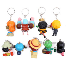 9pcs One Piece Luffy Nami Zoro Chopper Robin Brook Usopp Franky Sanji Keychains