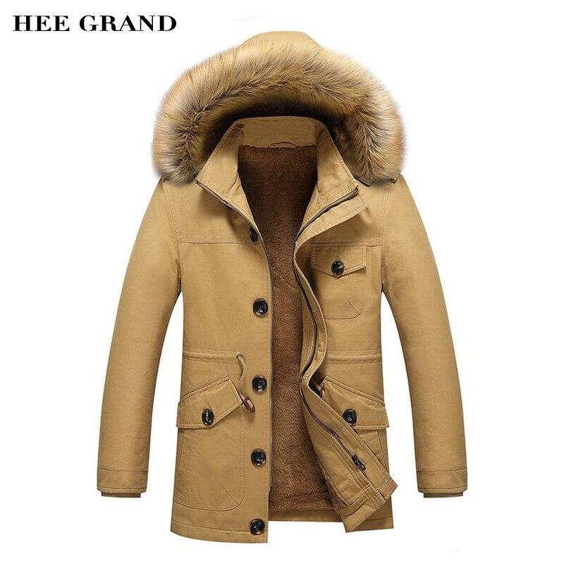 Hee Grand/Для мужчин зимние теплые парки Новое поступление 2017 года утолщение хлопок модное пальто мульти-карманы Дизайн плюс Размеры M-5XL mwm1751