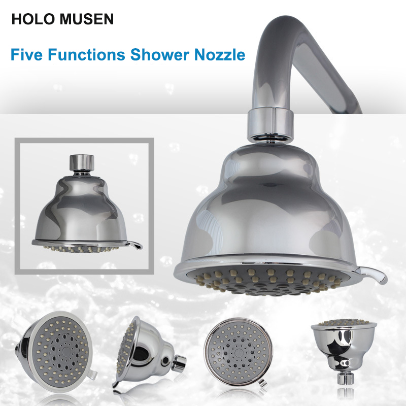 Quality 4 inch 5 Functions Massage Shower Head Sprayer Silver ...