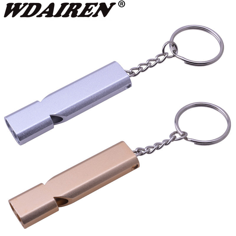 Double-frequency Gold/Sliver Outdoor Emergency  Survival Whistle Keychain Aerial Aluminum Alloy Camping Hiking Accessory Tool