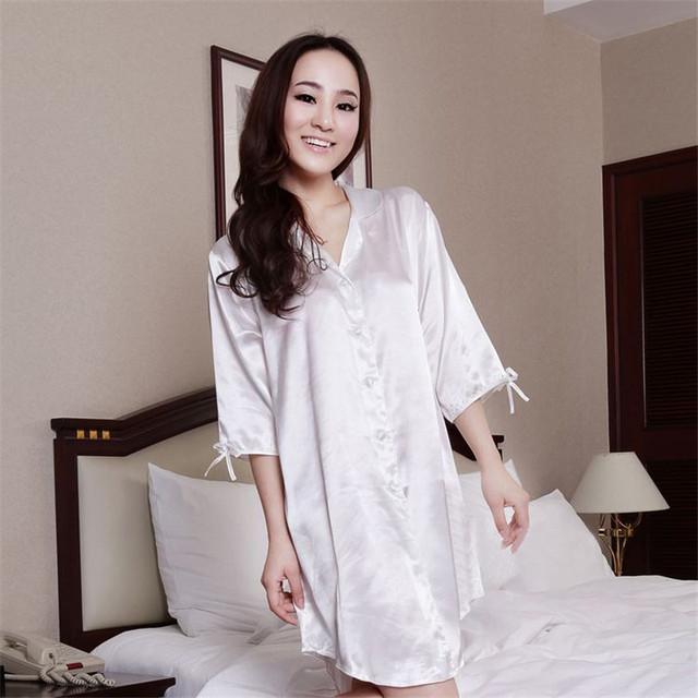 Imitação de Cetim de Seda Roupas Em Casa As Mulheres Camisola Camisola Robe Vestido Sexy para o Sono Da Senhora Camisa Nightie Chemise Noite