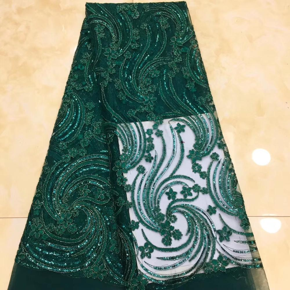 French lace fabric 5yds/pce dhl green sequins embroidery mesh fabrics women gorgeous luxury party event show asoebi dress 2019French lace fabric 5yds/pce dhl green sequins embroidery mesh fabrics women gorgeous luxury party event show asoebi dress 2019