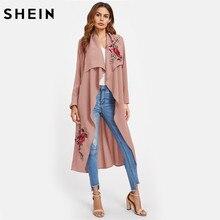 Шеин цветок Вышивка патч поясом водопад пальто осень 2017 Для женщин Тренч Обнаженная с длинным рукавом элегантные пальто