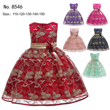 Free Shipping Children Party Dress 2019 New Design Patchwork Gold Embroidery Flower Girl Dresses For Weddings Kids Evening Gowns black rose embroidery pattern patchwork design dress