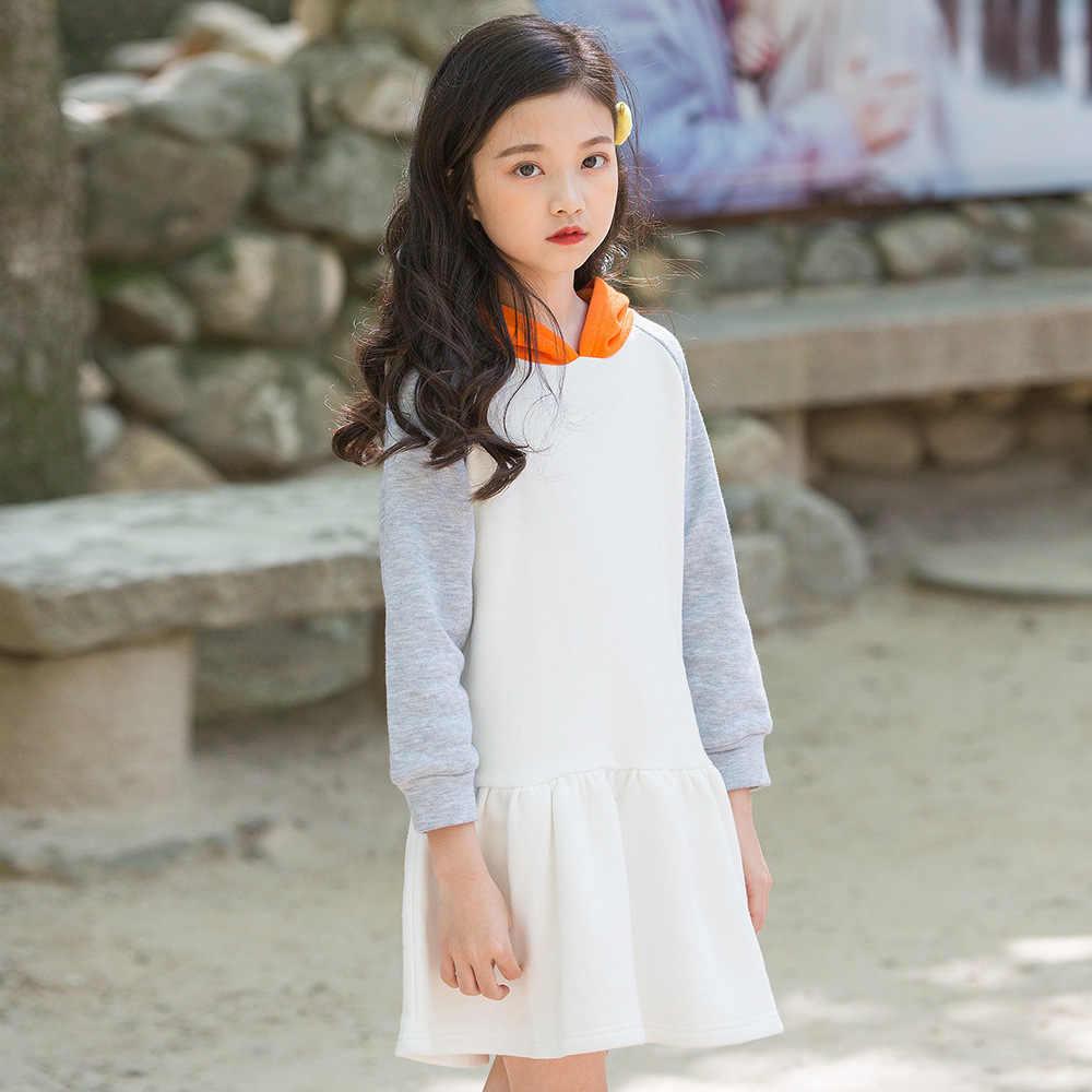 ae37028076d8e Подробнее Обратная связь Вопросы о Платье с капюшоном и капюшоном в стиле  пэчворк, платья для маленьких девочек, осень 2018, модная детская одежда,  ...