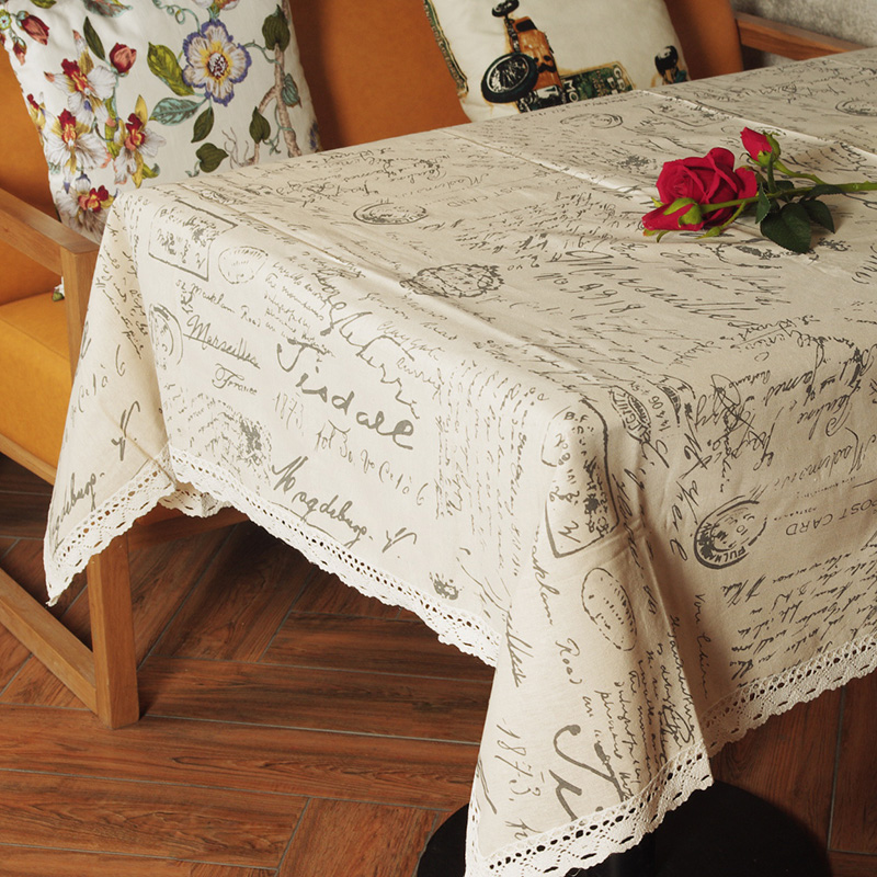 europe style linen cotton table cloth rectangular lace