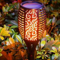 Litake 2Pcs 96LEDs Waterproof Solar Torch Shape Light with Flame Effect for Garden Patio Deck