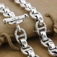 Огромный и тяжелый Твердые стерлингового серебра 925 мужские Байкер Рокер панк Цепочки и ожерелья 8w006n 20 до 36