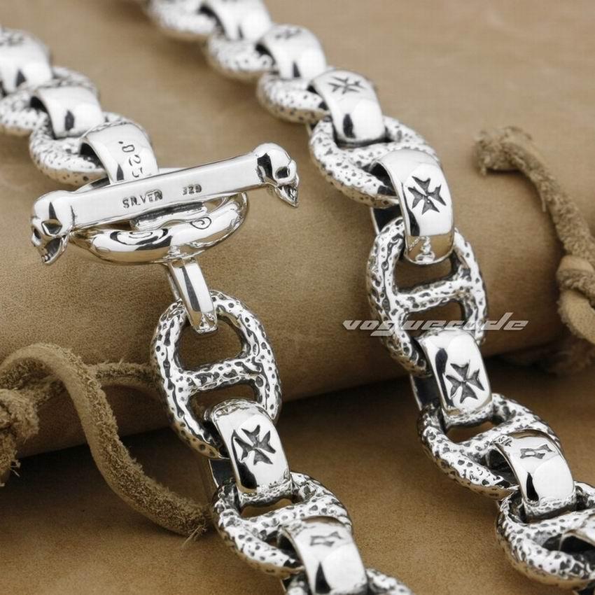 Huge & Heavy Solid 925 Sterling Silver Mens Biker Rocker Punk Necklace 8W006N 20 to 36 solid 925 sterling silver huge