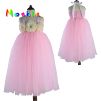 Pink Mix White Elegant Baby Girl Princess Tutu Long Dress For Christening Wedding Kids Flower Dresses