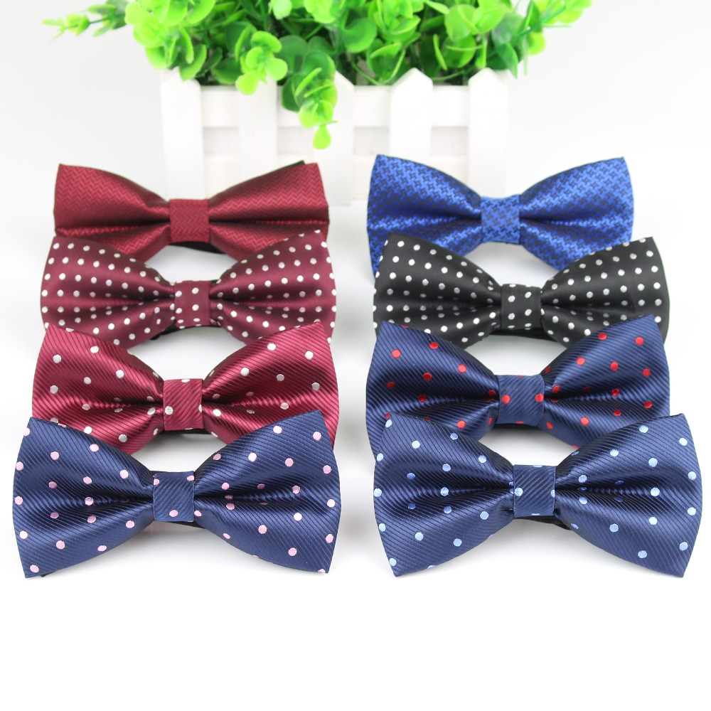 Men's Bow Tie High Quality Polka Dot Black Blue Red Bowtie Kid Children Smooth Necktie Soft Butterfly Wedding Prom Party Ties