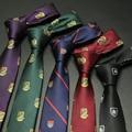 Moda 6 cm Ancho Estrecho Gravata Corbata Nueva Moda europea Delgado flaco Corbata para Los Hombres 2017 Negro Púrpura Logo Corbata Cravate Homme