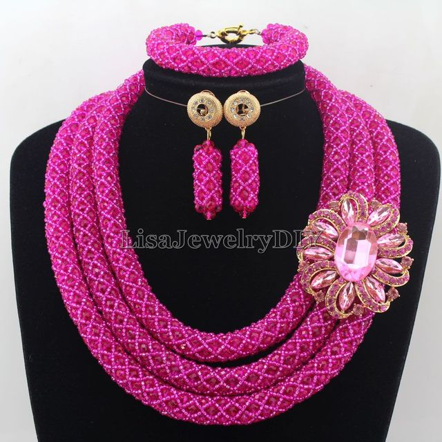Stylish African Costume Jewelry Set Hot Pink Nigerian Wedding African Beads Jewelry Set Beautiful Flower Free : stylish costume jewelry  - Germanpascual.Com