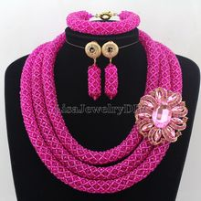 Stylish African Costume Jewelry Set Hot Pink Nigerian Wedding African Beads Jewelry Set  Beautiful Flower Free Shipping HD7572