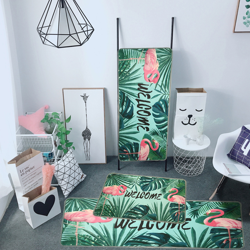 Tropical Plants Flamingo Area Rugs And Carpets for Kids Baby Home Living Room Washable Stairs Hallway Bedroom WC Door Bath Mats