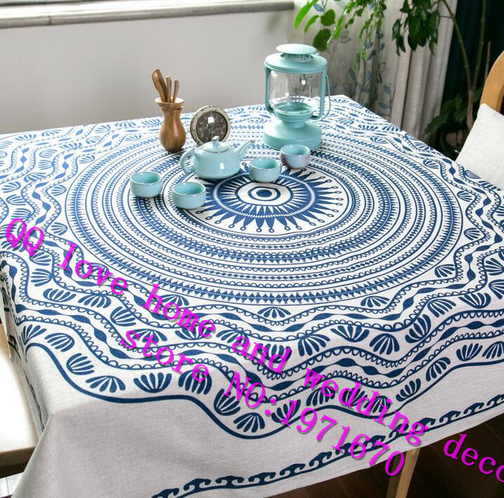 Modern New Chinese National Wind Cotton And Linen Table Cloth Square Round Table  Cloth Tea Table