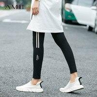 Amii Casual Women Minimalist Legging 2018 Stripe Print Female Fitness Workout Leggings