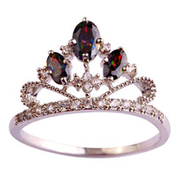 Fashion Noble Crown Royal Style Rainbow Sapphire 925 Silver Ring Size  6 7 8 9 10 11 Women Jewelry Free Shipping Wholesale