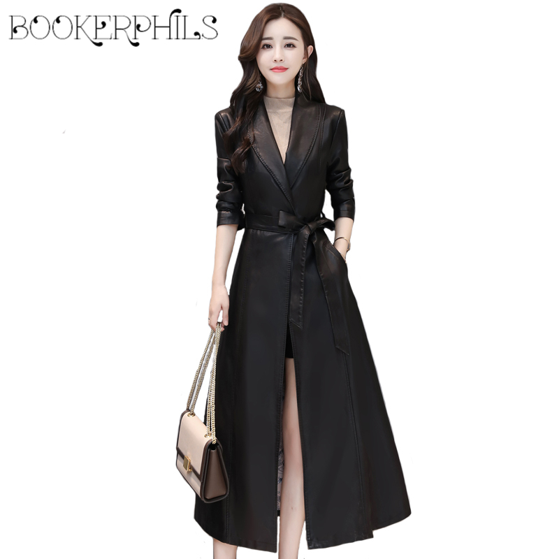 Autumn Winter X-Long Faux   Leather   Coat Soft Slim Black   Leather   Jacket Women Overcoat Plus Size Sheepskin Trench Coat Whit Belt