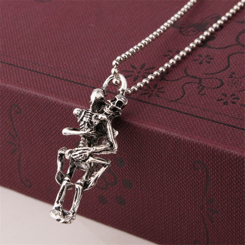 QCOOLJLY Popular Cool Special Creative men's Punk Exaggerated Silver Color Chain Necklace For Jewelry Halloween Gift
