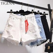 TIGENA High Waist Denim Shorts Women 2020 Summer Plus Size Pocket Tassel Hole Ripped jeans Short Female Femme Short Pants Women