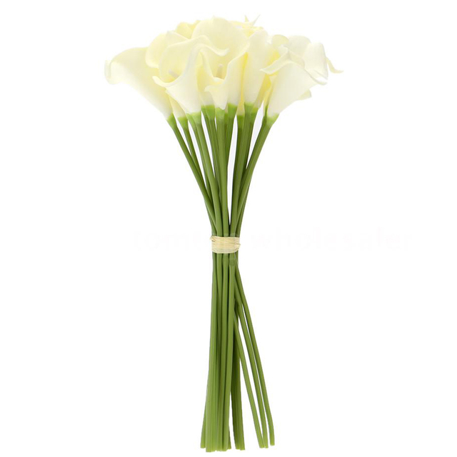 Bon 18x Artificial Calla Lily Flowers Single Long Stem Bouquet Real Home Decor  Color:Creamy