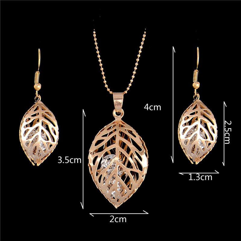 H:HYDE 1SET Fashion Womens Gold Color Classic Hollow Leaf Austria Crystal Necklace Earrings Wedding Jewelry Sets Wholesale 10