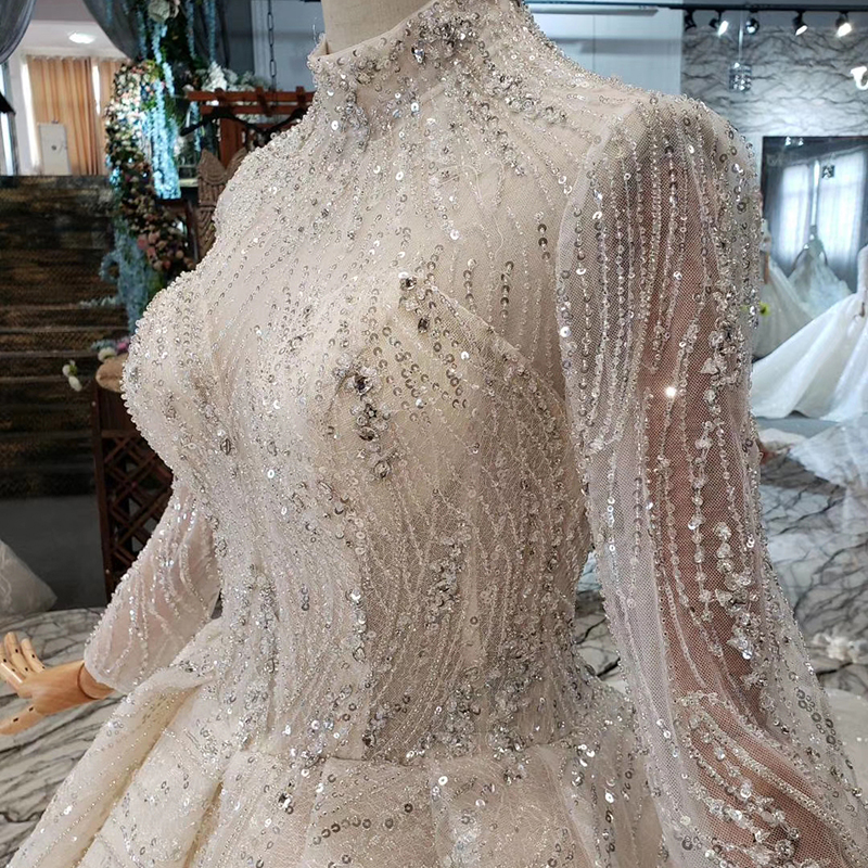 Image 5 - HTL272 Sparkly Wedding Dress with popular metallic line high neck handmade beaded wedding gown with long train sukienka wesele-in Wedding Dresses from Weddings & Events
