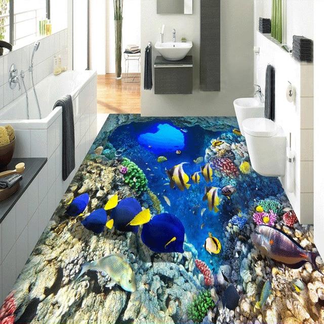 Beibehang Mediterráneo banco de pescado piso papel pintado ...