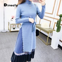 Direcly 2019 autumn winter sweater dress Korean style women knit 2piece set dress ladies beaded stitching wool dress with sashes