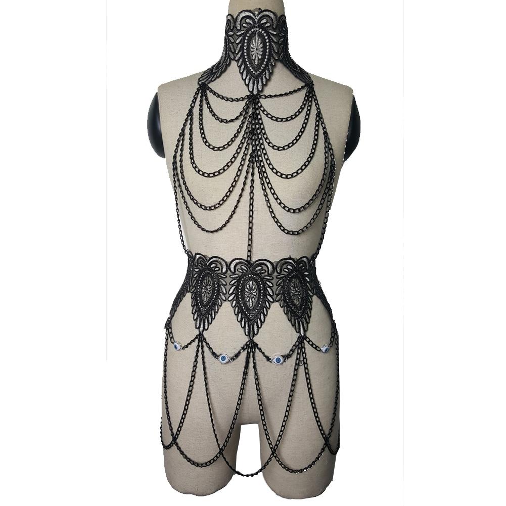 2017 Chain Black Runway Custom Dress Celebrity Performance Wear Dress Dance Wear Women Singer Stage Outfit Drak Gothic Dresses