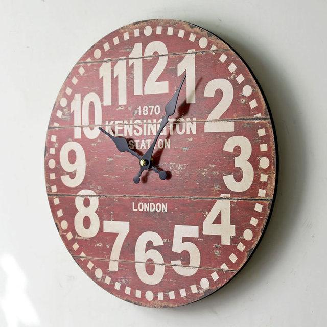 LONDON 1870 Europe Wood Wall Clocks Red Retro Decorative Antique Home Decor Clocks